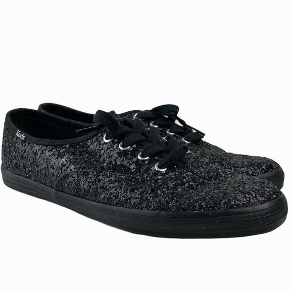 Keds Black Glitter Lace Up Casual Sneakers